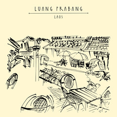 French cafe in a backpacker district of Luang Prabang, Laos, Southeast Asia.  Vintage hand drawn touristic postcard