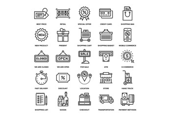 Shopping and Retail Icons Set 03