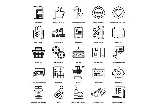 Shopping and Retail Icons Set 04
