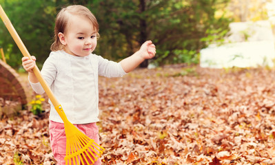 Toddler girl raking leaves