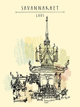 Buddhist temple in Savannakhet, Laos, Southeast Asia. Vertical vintage hand drawn touristic postcard