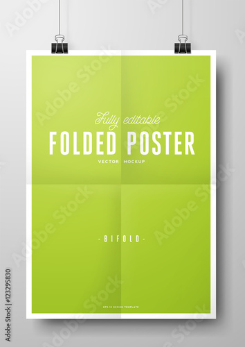 Folded poster vector eps mockup with paper clips fully editable folded poster vector eps mockup with paper clips fully editable template of a poster hanging pronofoot35fo Gallery