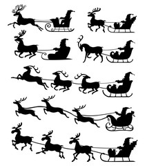Christmas silhouette Santa Claus riding on reindeer sleigh set i