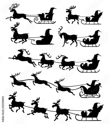 Christmas silhouette Santa Claus riding on reindeer sleigh set i
