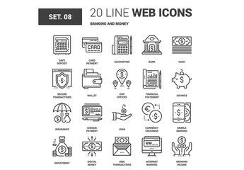 Banking and Money Icons Set