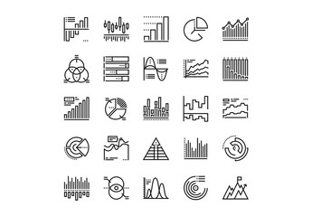 Charts and Diagrams Icons Set