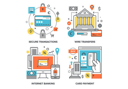 Internet Banking Illustrations Set