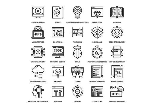 Program Coding Icons Set