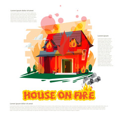 house on fire with typographic design - vector