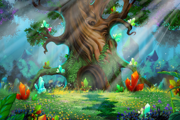 Forest Treasure. Video Game's Digital CG Artwork, Concept Illustration, Realistic Cartoon Style Background