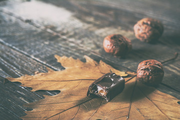 Chocolate candy with walnuts. Selective focus