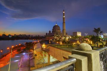 Beautiful sunset At Putra Mosque, Putrajaya Malaysia.