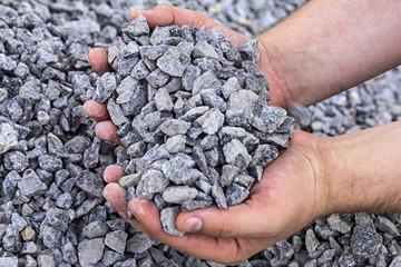 palm full of crushed granite
