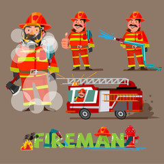 fireman in action. character set with typographic design - vecto