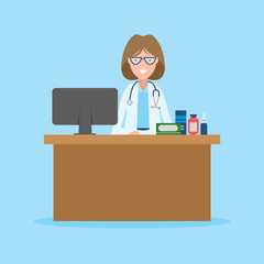 Doctor in the cabinet. Funny smiling female doctor sitting in the medical cabinet. Medical treatment, first aid.