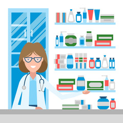 Pharmacist in drug store. Beautiful smiling woman in white sitting near shelf with medication. Woman in glasses.