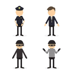 Police and crime set. Isolated funny cartoon character on white background. Robber, thief and two police officers.