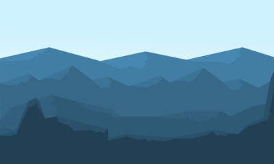 Hills landscape vector flat of silhouette