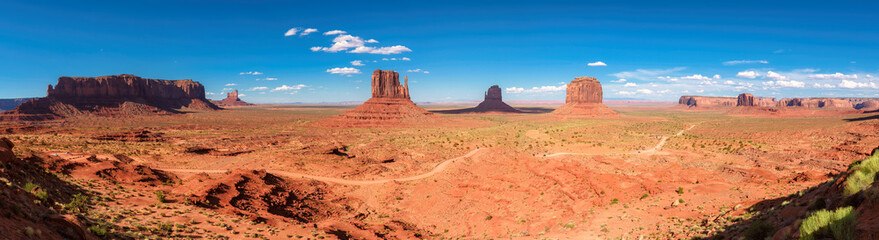 Panorama of the famous Buttes of Monument Valley, Utah, USA
