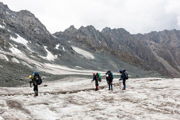 Group of hikers in mountains.