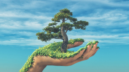 Hand tree bloom