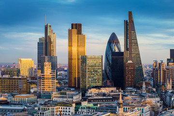London, England - Business district with famous skyscrapers and landmarks at golden hour Wall mural