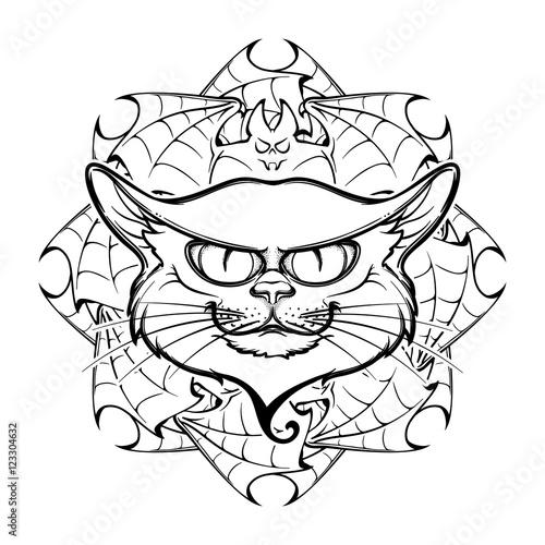 Halloween Illustration With Black Cat Head On Circular Ornament Of