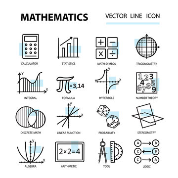 Set of modern thin line icons for math.