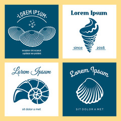 Vector oyster shell, scallop and seashells nautical logo templates set