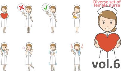 Diverse set of female nurse , EPS10 vector format vol.6