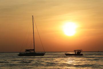 BANGKOK, THAILAND: beautiful foggy sunset ov