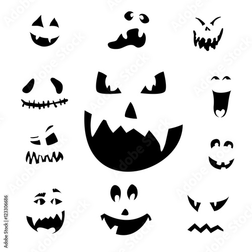 Vector illustration of scary Halloween pumpkin faces icons on ...