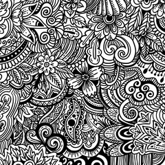 Ornamental ethnic pattern. Floral background can be used for wallpaper, patterns fills, textile, fabric, wrapping, surface textures, coloring book adults and kids.
