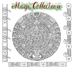 Graphic set with maya calendar circle and mystic symbols