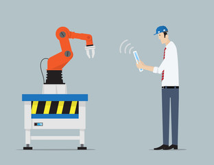 Industry 4.0 Factory Automation Concept. Robot hands controlled by engineer with Tablet PC. .