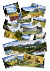 Several images describing the places around Sils Lake in Engadin (Switzerland)