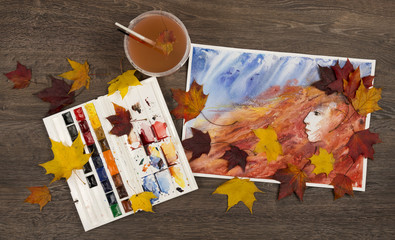 Autumn watercolor background. Princess of fall. Artwork.