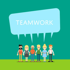Group of smiling people holding hands. Teamwork banner, isolated vector illustration on green background. People communication concept. Collaboration and partnership, working together. Business team