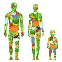 Healthy family, healthy food, illustration