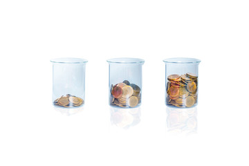 Coin in three bottle on white background