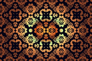 Floral decoration vintage background pattern Seamless retro wallpaper in victorian style: gold on black