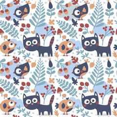 Seamless cute animal autumn pattern made with cat, bird, flower, plant, leaf, berry, heart, friend, floral nature  acorn mushroom hello kitten