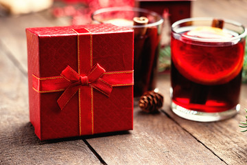 Hot mulled wine and gift box