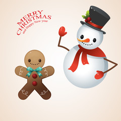 Snow Man in santa claus cap and Gingerbread man