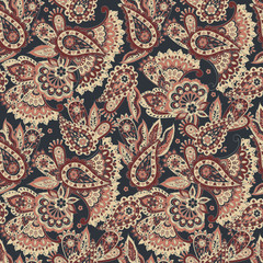 Paisley flowers seamless pattern. Asian floral vector illustration