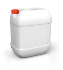 Blank plastic canister for motor oil isolated on white backgroun
