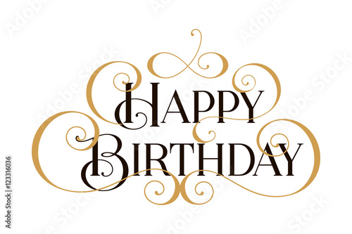 Happy Birthday Handwritten Modern Brush Black Text Gold Pinstripe White Background Beautiful
