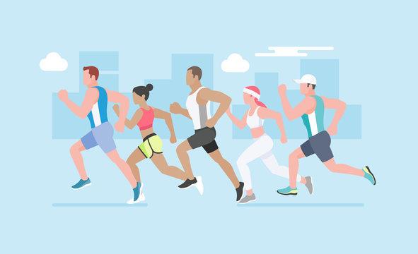 Running marathon. Vector Illustration.Vector Illustration.