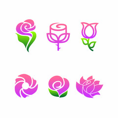6 Abstract Rose Flower Logo Pack Vector Icon