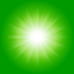 Bright sunbeams, shiny summer background with vibrant green color tones.